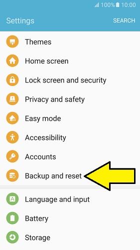 Reset network settings on Samsung